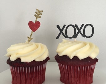 Valentine Cupcake Toppers (Set of 6 or 12)