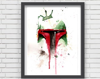 Boba fett Watercolor art Print bounty hunter Star Wars Decor paint