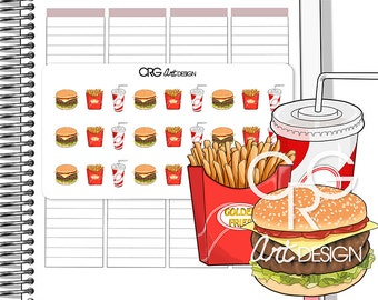 Fast Food Stickers Burger Chips Drink | Planner Erin Condren Plum Planner Filofax Sticker