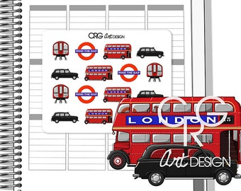 London Transport Stickers | Planner Travel Erin Condren Plum Planner Filofax Sticker