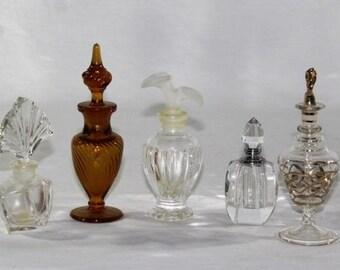 Five Vintage Perfume Bottles