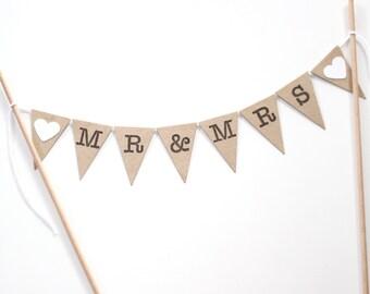 Wedding Cake Bunting Topper Mr & Mrs Kraft Rustic Wedding