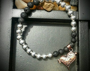 Sterling silver and Lava rock beads wish box bracelet