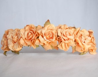 Floral Crown Flower Headband Hairband - Peachey Orange Ruffle Roses Wedding Festival Bridesmaid Flowergirl Special Occasion