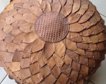 Genuine hand made REAL leather-POUF/Ottoman -LARGE-new design
