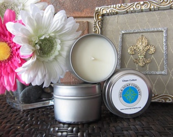 Clean Cotton Scented Soy Travel Candle 4 oz Metal Tin