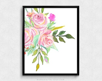 SALE -  Watercolor Roses, Pink Roses, Neon Hot Pink Color, Baby Girl Nursery, Vintage Roses Illustration, Nature, Bathroom Decor