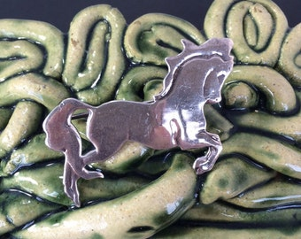 Sterling silver galloping horse pin brooch vintage 925