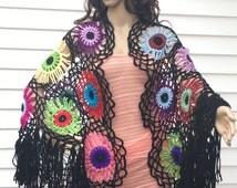 Boho Gypsy Shawl,Colorful Crochet Shawl,Circle Motif Shawl Wrap Cape,Women Accessories,Summer Shawl,