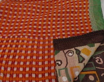 Indian Handmade Kantha Quilts Vintage Throw Bedcover Bedspread Gudri 1328 BY artisanofrajasthan
