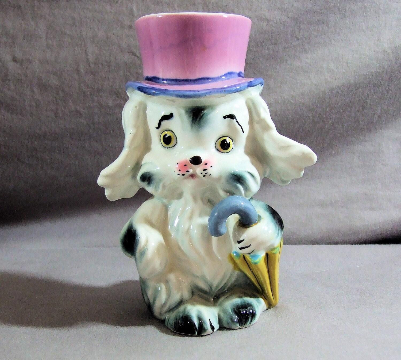 Vintage Dog Head Vase Dog Collection Dog Figurine Black And