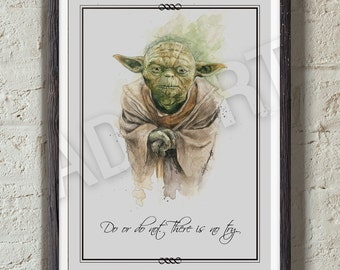 Yoda of Star Wars illustration limited edition watercolor copy