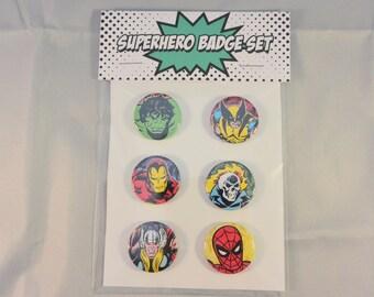 Marvel Superhero 6 Badge Set