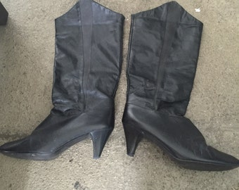 Awesome 80's Black Leather Boots