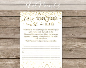 Two Truths and a Lie Bridal Shower Game Printable, Gold Confetti Bridal Shower Game, Bridal Shower Fun Activity, Confetti Wedding Shower