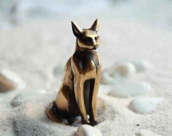 Cat-Goddess Bastet Egyptian Bast Egyptian Goddess Egypt Cat Figurine Cat gift : Bronze Handmade Figurine