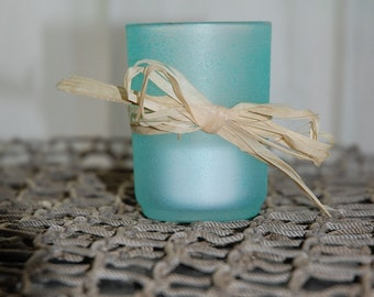 Raffia Bow Votive Candle Holders