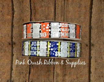 "7/8"" USDR Just Keep on Swimming Silver Foil Grosgrain Ribbon, US Designer Ribbon by the yard, Ribbon for Bows"