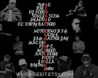 HipHop Legends Always Remembering   HipHop Poster   Ft. Tupac, Big L, BIG, Eazy E, J Dilla, Big Pun, Heavy D, Pimp C, DJ Screw et all