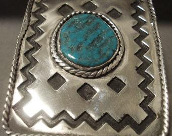 73 Gram Monster Vintage Navajo Duel Finger Turquoise Silver Ring Old