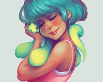 Snakey Snuggles Print 5x7