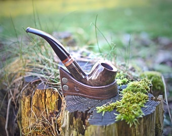 Curved leather Pipe holder rest