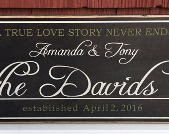 "Rustic Wood Sign - A True Love Story Never Ends - 8""x16"""