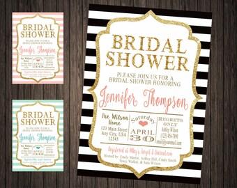 Glitter Stripe Chic Bridal Shower Invitation Gold or Silver Glitter Available
