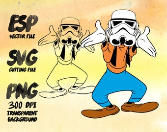 Goofy trooper Star wars Clipart , SVG Cutting , ESP Vectors files , T shirt , iron on , sticker ,Personal Use