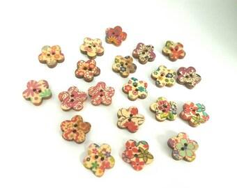 Flower Shape Floral Pattern Wooden Buttons x 20 15mm