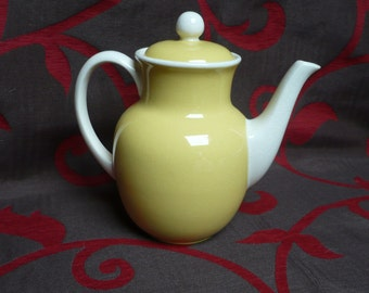 Teapot, Villeroy et Boch, yellow - white, vintage