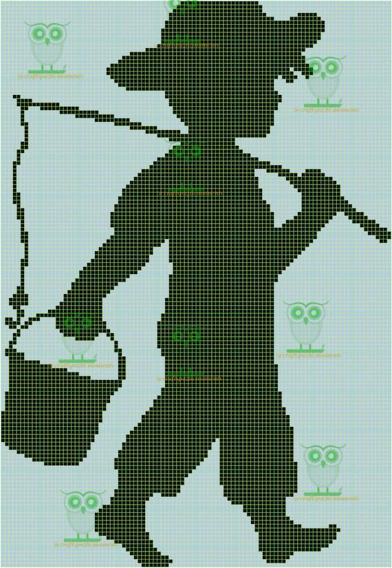 fishing boy shadow graph graphghan chart pattern gift blanket