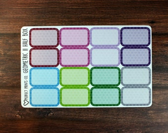 Geometric 2 Half Box Planner Stickers, For use with Erin Condren Life Planner