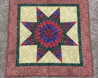 Metallic Quilted Lone Star Table Topper or Wallhanging