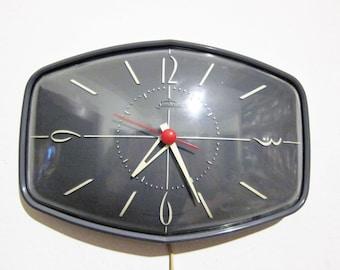 Sunbeam Dark Gray Midcentury Electric Wall Clock 1950s