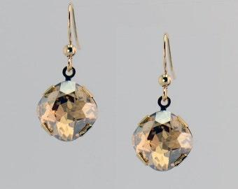 Golden Crystal Drop Earrings - E2579