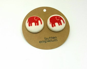 red elephant fabric button earrings