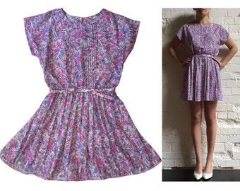 Pink Purple Floral Vintage Sun Dress