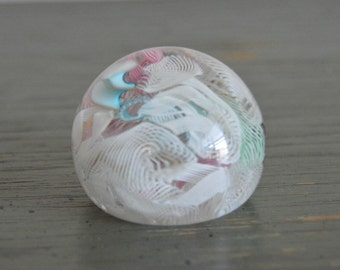Vintage Murano Ribbon Lace Glass Paperweight