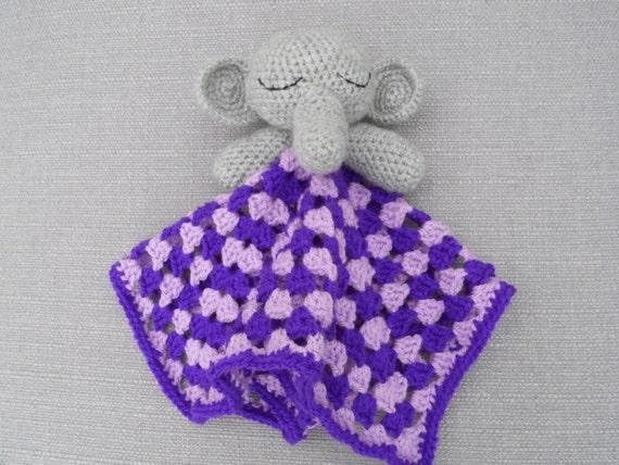 Amigurumi Elephant Snuggle : Crochet Elephant Baby Snuggle Comfort Blanket by ...