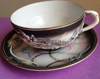 Vintage Japan Dragon Tea Cup and Saucer - Gray with Raised Design 1950