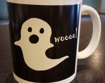 Glow in the Dark Ghost Mug - 11oz Coffee Mug - Hand Drawn Design