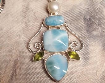 Blue Larimar, Peridot and Freshwater Pearl Sterling silver pendant