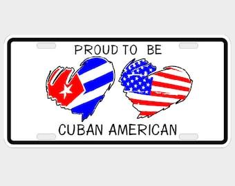 CUBA AMERICAN Flag hearts - Decorative License Plate