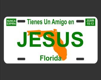 Jesus Decorative License Plate - Tienes un Amigo en Jesus - Christian