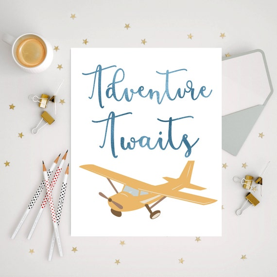 Vintage airplane print airplane nursery decor by ellowdee Vintage airplane decor for nursery