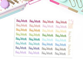 This Week Blurbs -- 34 Cursive Text Stickers