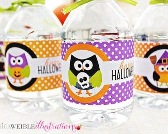 Halloween Hoot Printable Water Bottle Wrapper, Halloween Party Bottle Label, Instant Download, Halloween Party Printable Wrappers