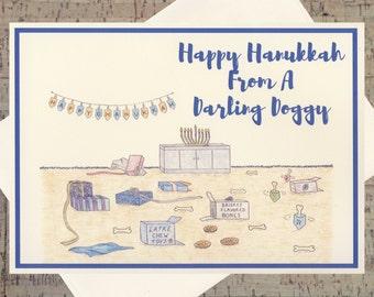 Dog Card, Funny Hanukkah Card, Hanukkah Card, Jewish Card, Dog Holiday Card, Dog Lover, Pet Holiday Card, Seasonal Card, Happy Hanukkah