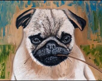 Pug Portrait Oil Painting 10x14, Sweet Pug Dog, Pug Pet Portrait, Dog Painting, Original Pug Painting. discount. Art.